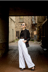 Riley Laporte - Riley Laporte Over Sized Jacket, Riley Laporte High Waisted White Pants, Urban Outfitters Sheer Black Long Sleeve, Filthy Rebena Sunglasses, Aldo Black Heels, Model, Photographer - Professional Chic
