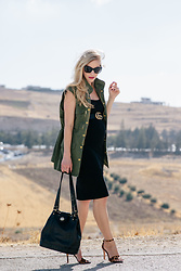 Meagan Brandon - Utility Vest, Gucci Belt, Black Dress (Non Maternity), Leopard Print Sandals, Brahmin Flower Bag - How to Dress Up a Utility Vest