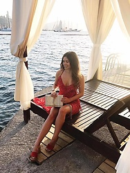 Georgina Walker - Primark Red Dress, Schutz Healed Wedges, Saint Laurent Bag - Cabana loving