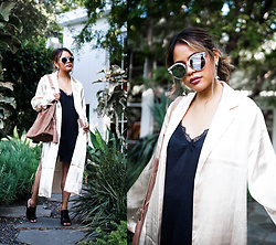 Eda Semana - Forever 21 Satin Kimono, Urban Outfitters Lace Slip Dress, Melt Mirror Sunglasses, All Saints Freedome Suede Hobo Bag, 4th And Reckless Mules - Satin Kimono and Slip Dress