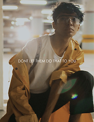 Adrian Jiménez - Bershka White Basic T Shirt, Yellow Vintage Raincoat, Black Vintage Termic Pants With Braces, Clear Industrial Protective Glasses - Declare Independence