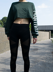Gi Shieh - H&M Cropped Sweatshirt, Forever 21 Mesh Leggings - Workout