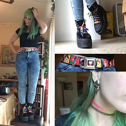 Amethyst . - Forever 21 Rainbow Velvet Boots, Disney Princess Belt - A dream is a wish your heart makes...