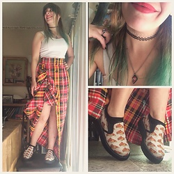 Amethyst . - Vintage Skirt, T.U.K. Footwear Pizza Slip Ins, Crop Top, Player Two Necklace - Pizza & plaid.