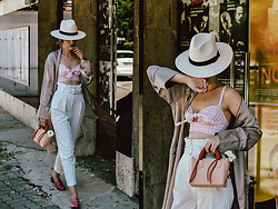 Andreea Birsan - Panama White Straw Hat, Pink Gingham Tie Front Crop Top, Color Block Mini Leather Tote Bag, White Peg Trousers, Gucci Pink Horsebit Loafers, Layered Choker Necklaces, Silk Robe - How to wear a crop top as a grown up