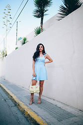 Merna Mariella - Asos Dress, Asos Bag - BABY BLUE SUMMER DRESS WITH RUFFLE DETAILS