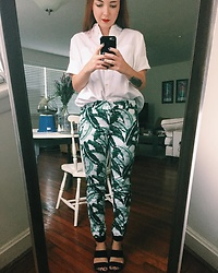 Cadyn Scott - Madewell White Utility Shirt, Old Navy Green Leaf Print Trousers, Nine West Black Strap Wedge - Office Apropos