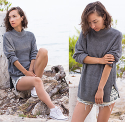 Iva K - H&M Sweater, H&M Sneakers - Distressed shorts