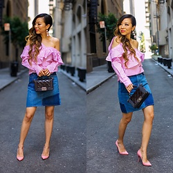 Sasa Zoe - Only $18 Top, Patchwork Denim Skirt, Earrings, Heels, Bag - JUST KEEP WALKING BABES