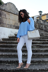 Joana Sá - Pull & Bear Sunglasses, Mango Blouse, Bimba Y Lola Bag, Zara White Jeans, Zara Shoes - Let's talk