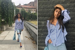 Jelena Dimić - Blue And White Striped Shirt, Shein Cut Out Hoop Jeans, Doca Blue Handbag, Local Store Cobalt Blue Heels - If you're the art I'll be the brush