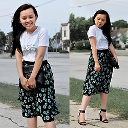 MC Y - Express Floral Midi Skirt, New Look Strappy Heels - Inspire