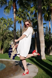 Sandy Joe Karpetz - Aldo Lip Sunglasses, Gentlefawn White Dress, Pom Pom Tote, Jin Soon Cool Blue Nail Polish, Aldo Red Sandals - Marrakech Express