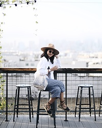 Tiffany Wang - Soludos Espadrilles, Lack Of Color Hat, Uniqlo Shirt, Urban Outfitters Pants - ROOFTOP HANGS