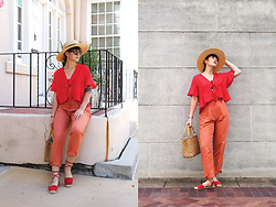 Gemini Tauberge - Asos Tie Front Blouse, Soludos Lace Up Espadrilles, Basket Bag, Straw Boater Hat - How to Style Trousers Part 1