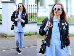 Rimanere Nella Memoria - Ray Ban Sunglasses, H&M Jacket, Zaful Blouse, Puma Sneakers, Amor, Trust & Truth Jeans - Patches Style