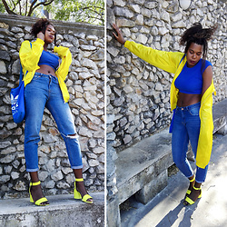 Yara Snow'z - Adidas Yellow Jacket, Bershka Yellow Sandals, Primark Mom Jeans, Adidas Blue Bag, New Yorker Blue Top - Fishnet&Sandals