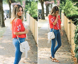 Kassy D - Bleuh Ciel Off The Shoulder Top, Hayden Harnett Fringe Leather Purse, Soorty World Of Denim High Rise Jeans, Urban Outfitters Sandals - Flowers & Fringe