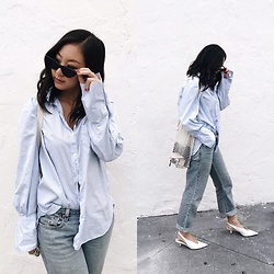 Tiffany Wang - Zara Heels, Levi's® Jeans, Zara Shirt, Le Specs Sunglasses - SIDE EYE