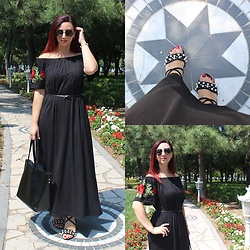 Rebel Takipte - Ami Club Wear Pearl Shoes, Chicuu Round Metal Sunglasses, Chicuu Embroidery Dress - Pearl Shoes