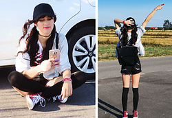 Karolina Z - Adidas Black Cap, Mohito Holographic Jacket, Converse Burgundy, Crop Top, Reserved Backpack - Nice day for a ride