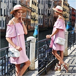 Madara L - H&M Off The Shoulders Dress, Zaful White Shoulder Bag, Zara Lace Up Espadrilles - Vacation in Venice