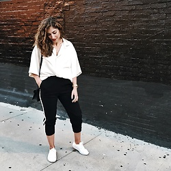 Christina N -  - Track Pants + Oversized Blouse