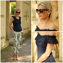 Małgorzata Miłosz - Orsay Lace Decorated Top, Stradivarius Floral Printed Pants, Reserved Sunnies - Summer outfit