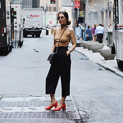Alyssa Melendez - Knit Crop Top, Quay Sunglasses, Cropped Flowy Pants, Chanel Purse, M4d3 Shoes - Street Style