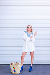 Susanne Bender - Target White Dress, Colores Collective Straw Bag, Blue Heeled Boots - White and a pop of color!