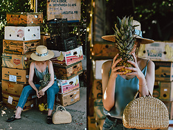 Andreea Birsan - Straw Picnic Bag, Silk Cami, Two Tone Step Hem Mom Jeans, Black Flat Mules, Straw Boater Hat - The lady with a pineapple