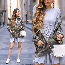 Sasa Zoe - Camo Jacket, Lace Up Dress, Earrings, Shoes, Bag - SIMPLY SOPHISITICATED SUMMER