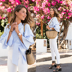 Stephanie Van Klev - Zara Wrap Shirt, Zara Straw Bag, Zara High Waist Skinny Jeans, Maje Sandals, Kapten & Son Watch - THE PINK TREE