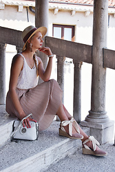 Madara L - H&M Panama Style Hat, Zara Pleated Skirt, Zaful White Shoulder Bag, Zara Lace Up Espadrilles - My ideal vacation outfit