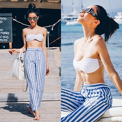 Claudia Salinas - Gucci Sunnies, Olaya Beach Bandeau Bikini Top, Reformation Linen Striped Pants, Balenciaga Bazar Bag - 8.10.17