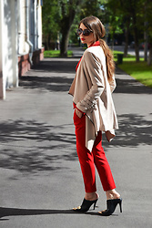 Alexandra M. - Lost Ink Black And Gold Mules, Zara Red Suit - Out of comfort zone
