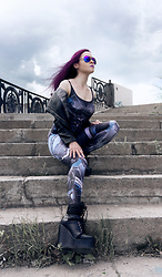 Irina Petrova - Black Milk Clothing Mecha Catsuit, Lost Ink Black Boots, Kari Sunglasses - Mecha
