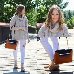 Taylor Doucette - Forever 21 Tan Leather Mules, Chloe Clare Handbag, Aran Sweaters Direct Cowl Neck Sweater, Zara White Embroidered Jeans - Little Of Your Love- Haim