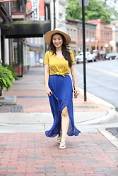 Kimberly Kong - Charlotte Russe Pleated Maxi Skirt, Amiclubwear Pom Pom Sandals - Playing with Primary Colors