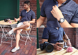 Nick Wang - Shirt, Shorts, Cole Haan Boat Shoes, Vintage Watch - Arvo Coffee Break
