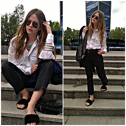 Alla Dolzhenko - Modis Sunglasses, Round Earrings, Bracelet, Nefertiti 'S Necklace, Transnord White Shirt, Belt, Dorothy Perkins Black Jeans Cutting By Me, Bag, H&M Fur Flats, Handmade Coat Dark Blue - ?