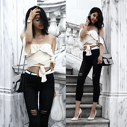 Florencia R - Gs Love Ruffle Top, Gs Love Ripped Jeans, Gucci Chain Bag, Boohoo Suede Heels - Monday Magic