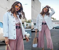 Eda Semana - Forever 21 Denim Jacket, H&M Satin Lace Camisole, Zara Pleated Culottes - Pink Monochrome and White Denim Jacket