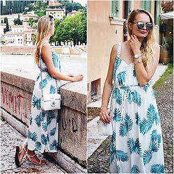 Madara L - Sammydress Leaf Print Dress, Zaful White Shoulder Bag, Ebay Hexagon Sunglasses - Feeling romantic in Verona