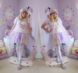 PastelKawaii Barbie - Ebay Lavender Beret, Kawaii Goods Heart Winged Clip, Ebay Lavender Peignor, Bodyline Unicorn Cutsew, Pinky Ever After Fuzzy Heart Winged Clip, Handmade Cassette Tape Necklace, Pinky Ever After Rainbow Tulle Skirt, Ebay White Stockings, Minky Shop Lavender Tea Parties, Icings Lavender Bow Clip - ★☽ Fairy Angel ☾★