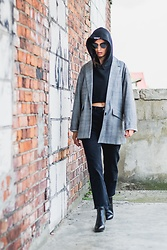 URBAN CREATIVI-TEA - Thom Browne Sunglasses, Golden Goose Hoodie, Zara Blazer, Topshop Jeans, Saint Laurent Shoes - Golden Hoodie & Featuring Golden Goose / urbancreativi-tea