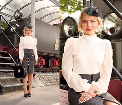 Julia Loewenherz - Gracia Royal Lovers Mock Neck Blouse, Chic Wish Studded Pocket Knitted Pencil Skirt - Victorian Vintage