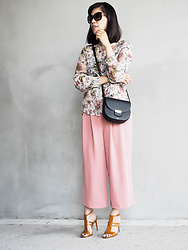 Vivian Tse - Tom Ford Sunglasses, Céline Bag, Zara Floral Wrap Top, Zara Culottes, Mango Heeled Sandals - A floral summer