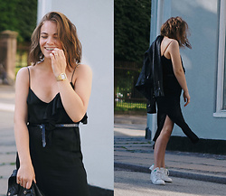 Stine Mo - Zara Dress, Adidas Stan Smith, Casio Watch, Pelechecoco Leather Jacket - Silk dress & sneakers