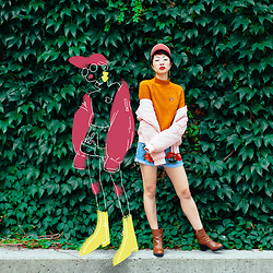 Kimchi - Cheap Monday Brown Layer Heeled Boots, Millenial Pink Cap, Vintage Floral Enamel Pin, Mustard Sweater Shirt, Millenial Pink Bomber Jacket, Floral Embroidered Denim Shorts - Jenny from the Block